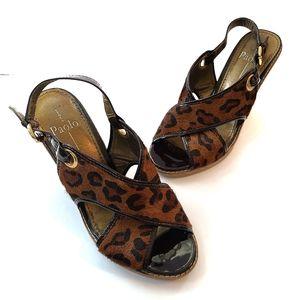 Linea Paolo Wedge Sandals Cheetah Print 8.5W